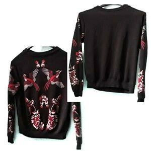 Boohoo Black knit Crane and Floral Sweater, size 2